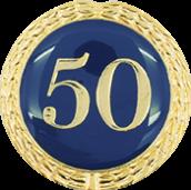 Auflage mit Zahl 50 blau