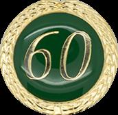 Auflage mit Zahl 60 grün