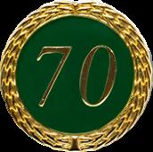 Auflage mit Zahl 70 grün