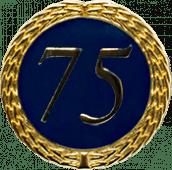 Auflage mit Zahl 75 blau