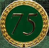 Auflage mit Zahl 75 grün