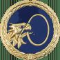 Auflage Adlerkopf mit Ring blau