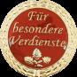 Auflage mit Schriftzug Für besondere Verdienste rot