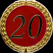 Auflage mit Zahl 20 rot