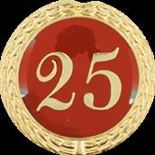 Auflage mit Zahl 25 rot