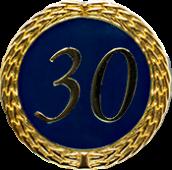 Auflage mit Zahl 30 blau