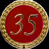 Auflage mit Zahl 35 rot
