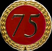 Auflage mit Zahl 75 rot