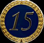 Auflage mit Zahl 15 blau