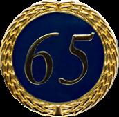 Auflage mit Zahl 65 blau