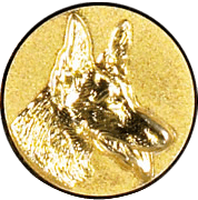Emblem 50mm Schäferhund 3D, gold