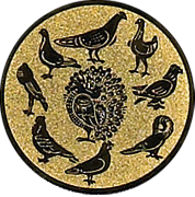 Emblem 50mm 9 Tauben (Kreis), gold