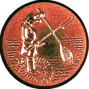 Emblem 50mm Angler m. Angel u. Kescher 3D, bronze