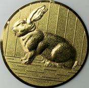 Emblem 50mm Hase 3D, gold