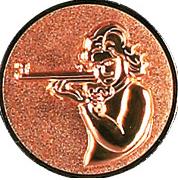 Emblem 50mm Schütze m. Gewehr 3D, bronze schießen