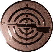 Emblem 50mm Zielsch. mit Gewehr links, bronze schießen