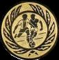Emblem 25mm 2 Fußballer m. Ehrenkranz, gold