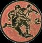 Emblem 25mm 2 Fußballspieler m. Ball, bronze