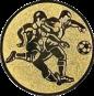 Emblem 25mm 2 Fußballspieler m. Ball, gold