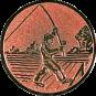 Emblem 25mm Angler beim Wurf, bronze