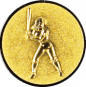 Emblem 25mm Baseball Spielerin, gold