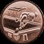 Emblem 25mm Billardspieler links 3D, bronze