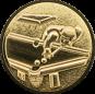 Emblem 25mm Billardspieler links 3D, gold