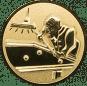 Emblem 25mm Billardspieler rechts 3D, gold