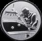 Emblem 25mm Billardspieler rechts 3D, silber
