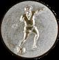 Emblem 25mm Fußballspieler m. Ball, silber