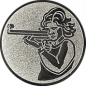 Emblem 25mm Schütze m. Gewehr, silber schießen