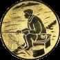 Emblem 25mm sitzender Angler, gold