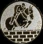 Emblem 25mm Springreiter Mauer, silber