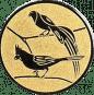 Emblem 25mm 2 Vögel links, gold