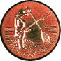 Emblem 25mm Angler m. Angel u. Kescher 3D, bronze