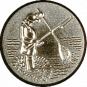 Emblem 25mm Angler m. Angel u. Kescher 3D, silber