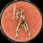 Emblem 25mm Baseball Spielerin, bronze
