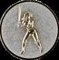 Emblem 25mm Baseball Spielerin, silber