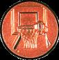Emblem 25mm Basketball m. Korb 3D, bronze