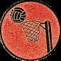 Emblem 25mm Basketball m. Korb, bronze
