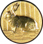 Emblem 25mm Hase 3D, gold
