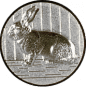 Emblem 25mm Hase 3D, silber