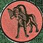 Emblem 25mm Hund apportiet Vogel im Maul, bronze