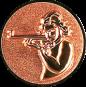 Emblem 25mm Schützin m. Gewehr 3D, bronze schießen