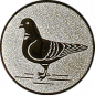 Emblem 25mm Taube links, silber