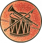 Emblem 25mm Trommel Trompete, bronze