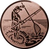 Emblem 50mm Angler m. Angel u. Kescher, bronze
