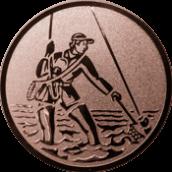 Emblem 50mm Fliegenangler im Wasser, bronze