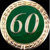 Anstecknadel 60 Jahre grün