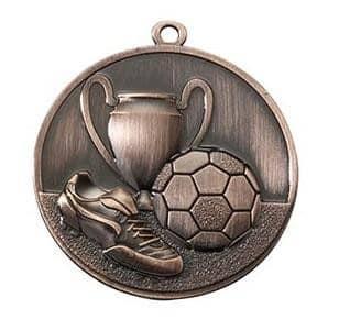 Fußballmedaille Ø 50 mm inkl. Wunschemblem und Kordel bronze